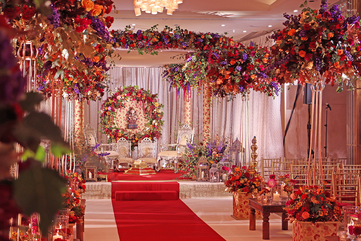Floral Mandap in Auntumn colours at The Grove Watford