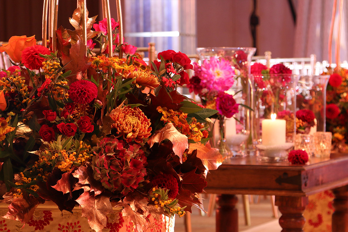 A floral detail of an aisle