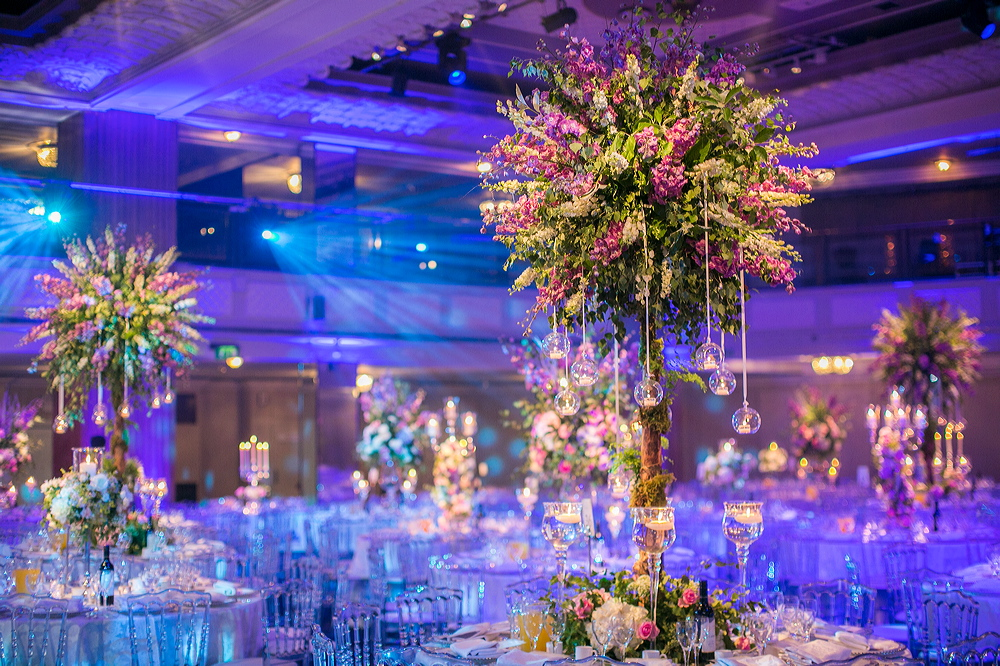 Wedding Reception at the Grosvenor House Great Room. Giant Floral Trees