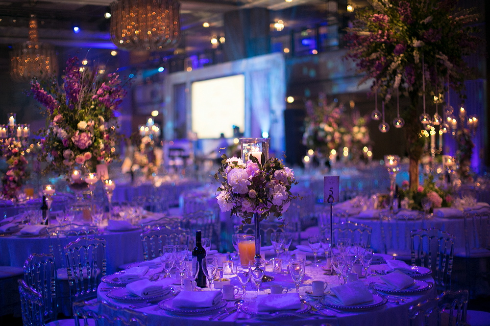 Wedding Reception at the Grosvenor House Great Room. Whimsical Florals