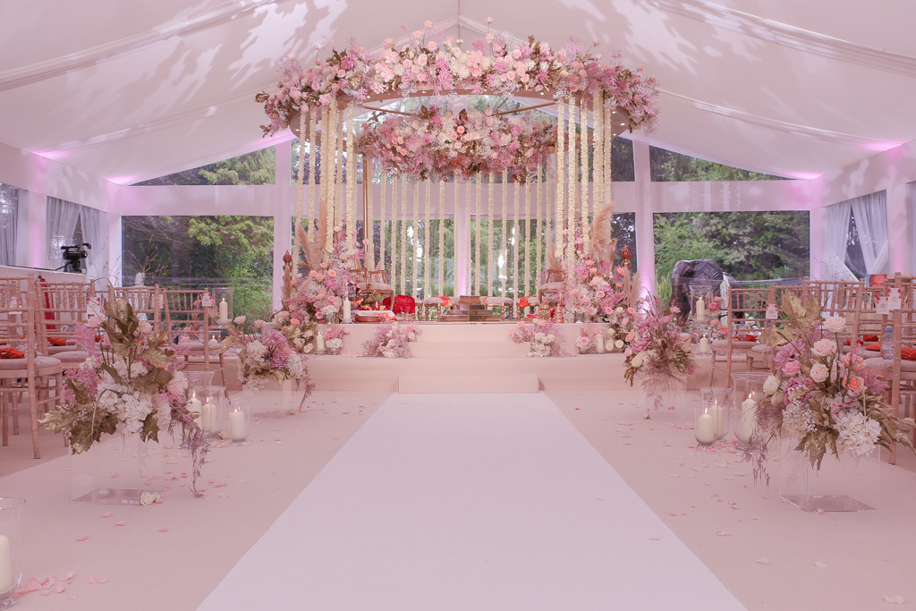 Floral Mandap with a floral Halo and rose petal garlands