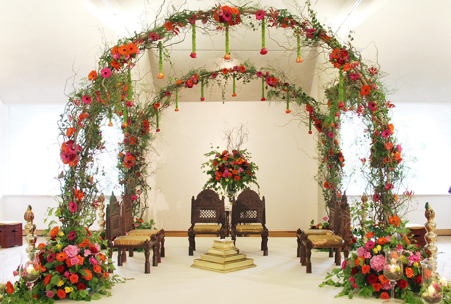 Four Arches bound together to create a Mandap with an Enchanted Woodland Theme
