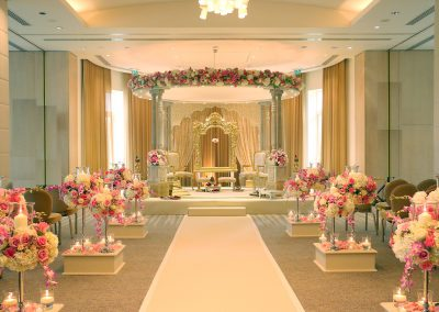 Meghranee Stone Mandap placed in the alcove in the Amber Suite at Watford The Grove